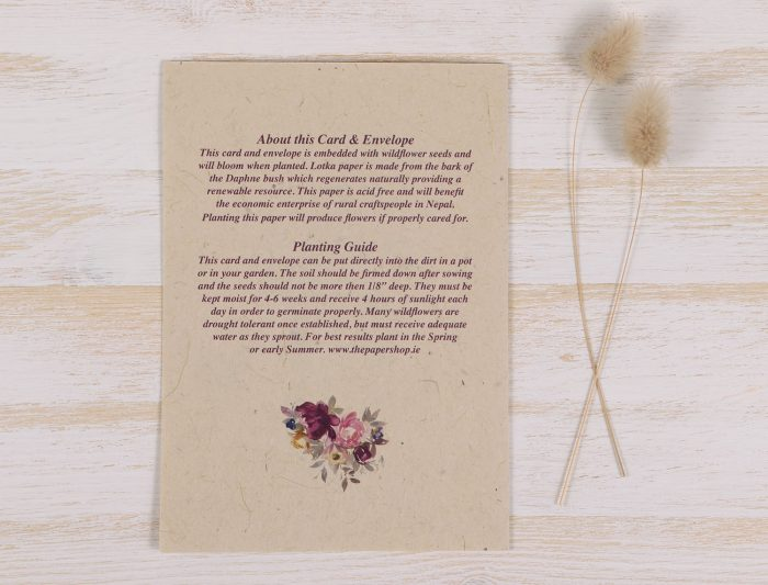 Plantable Condolence Card - Father Floral Wreath - Back