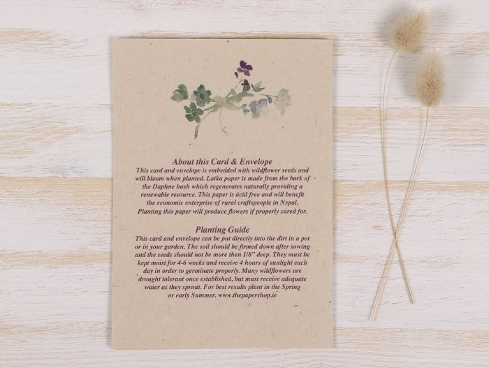 Plantable Condolence Card - Father Wild Wreath - Back
