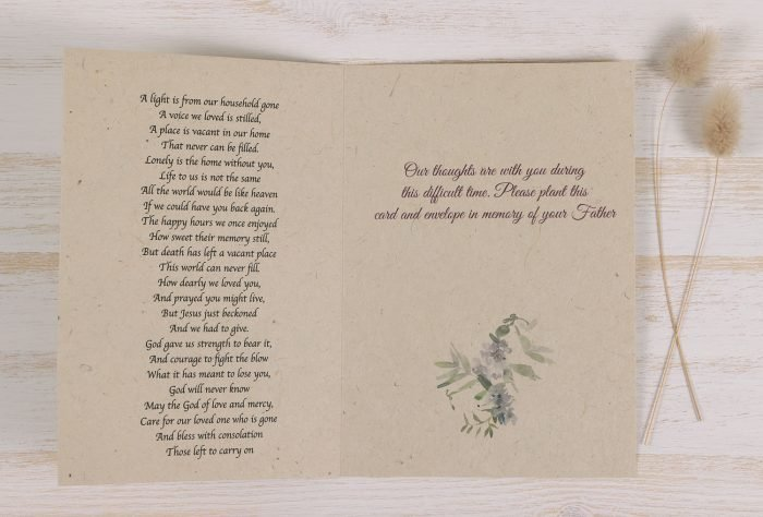 Plantable Condolence Card - Father Wild Wreath - Inside