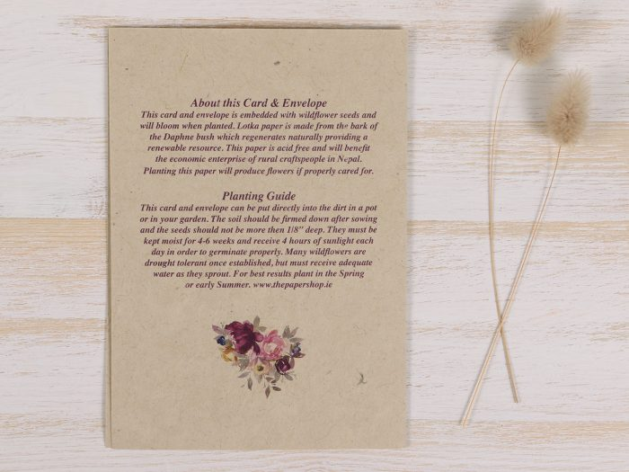 Plantable Condolence Card Floral Wreath - Back