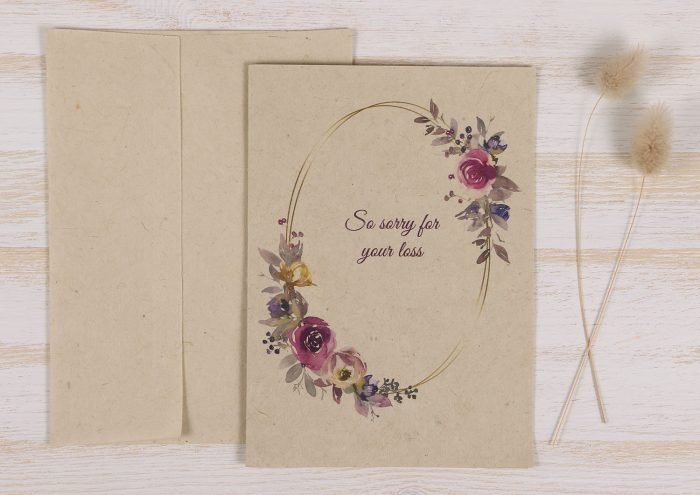 Plantable Condolence Card - Floral Wreath - Front