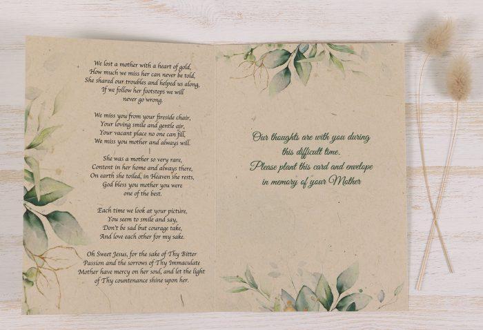 Plantable Condolence Card - Mother Eucalyptus - Inside