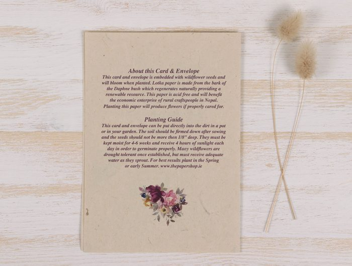 Plantable Condolence Card - Mother Floral Wreath - Back