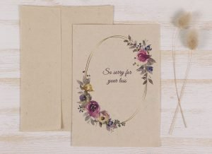 Plantable Condolence Card - Mother Floral Wreath - Front