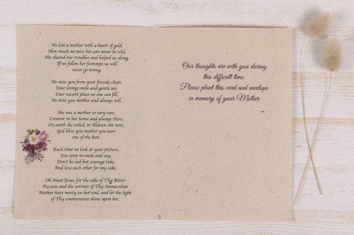 Plantable Condolence Card - Mother Floral Wreath - Inside
