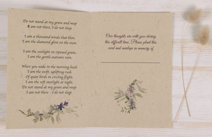 Plantable Condolence Card - Wild Wreath - Inside