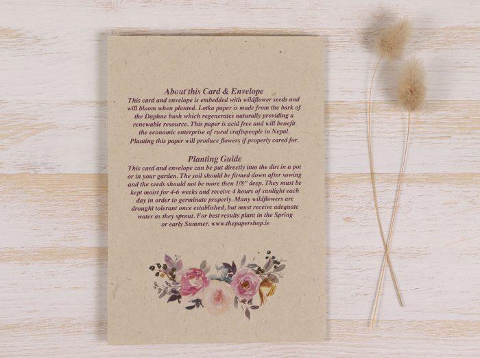 Plantable Congratulations Wedding Card - Spring Roses Back