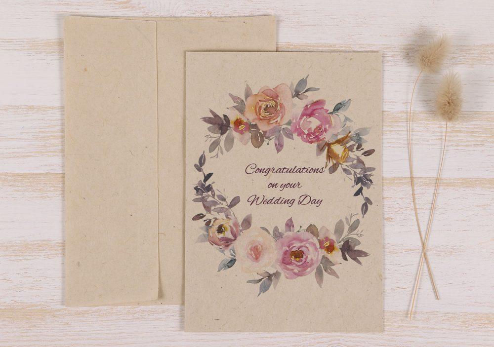 Plantable Congratulations Wedding Card - Spring Roses - Front