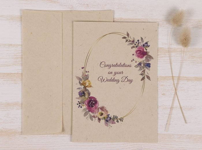 Plantable Congratulations Wedding Day Card - Floral Wreath - Front