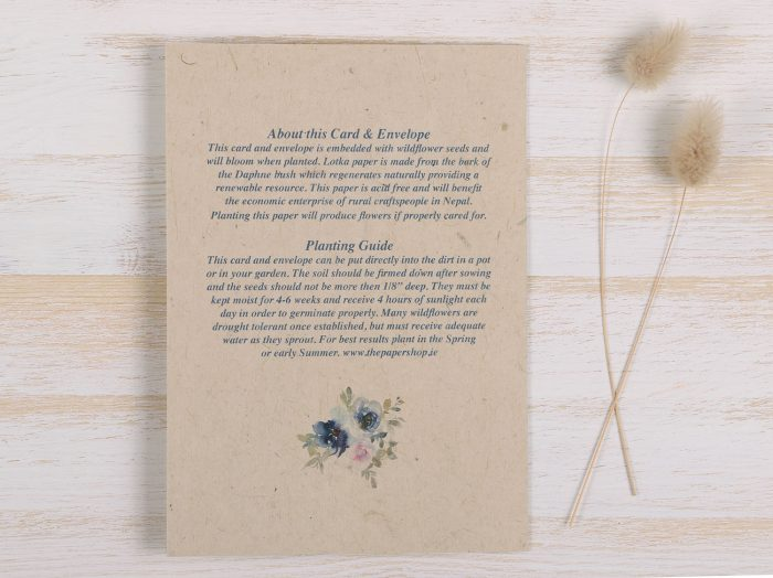 Plantable Engagement Card Blue Floral Back