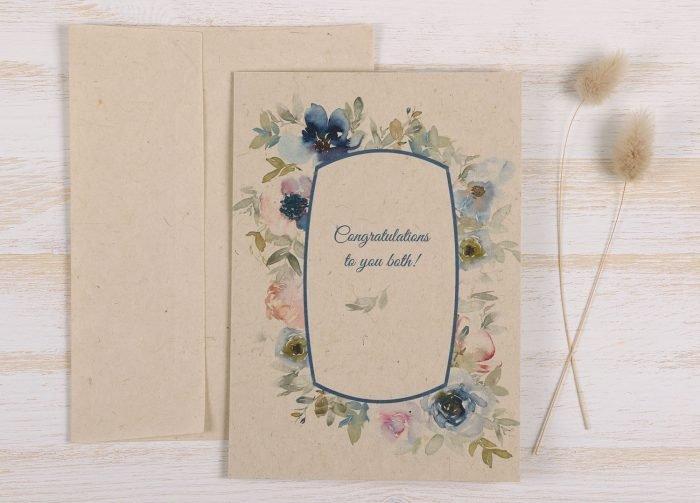 Plantable Engagement Card Blue Floral - Front