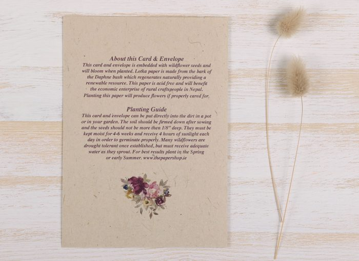 Plantable Engagement Card Floral Wreath- Back
