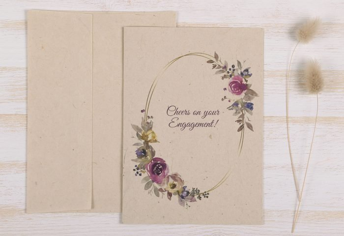 Plantable Engagement Card Floral Wreath - Front