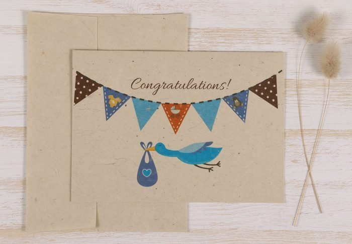 Plantable New Baby Boy Card - Front