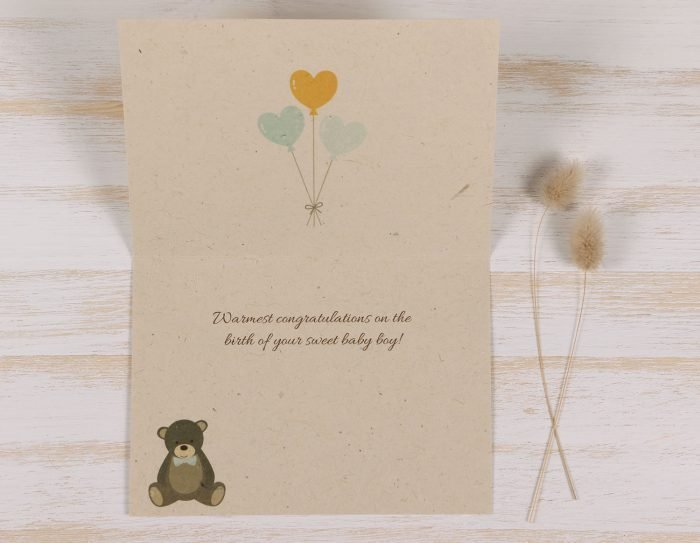 Plantable New Baby Boy Card - Inside