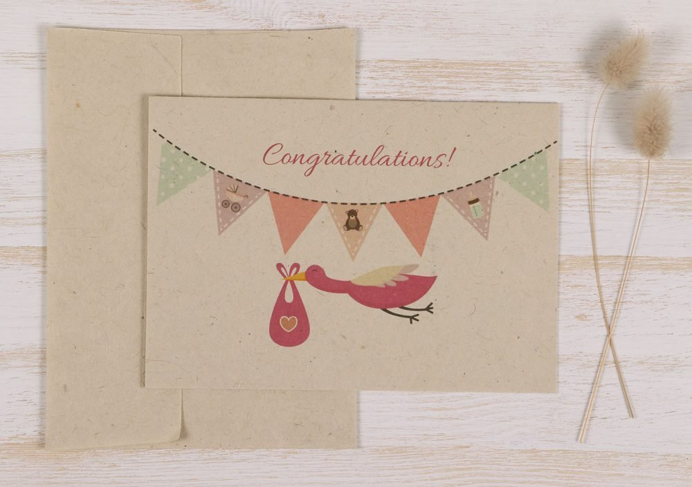 Plantable New Baby Girl Card - Front