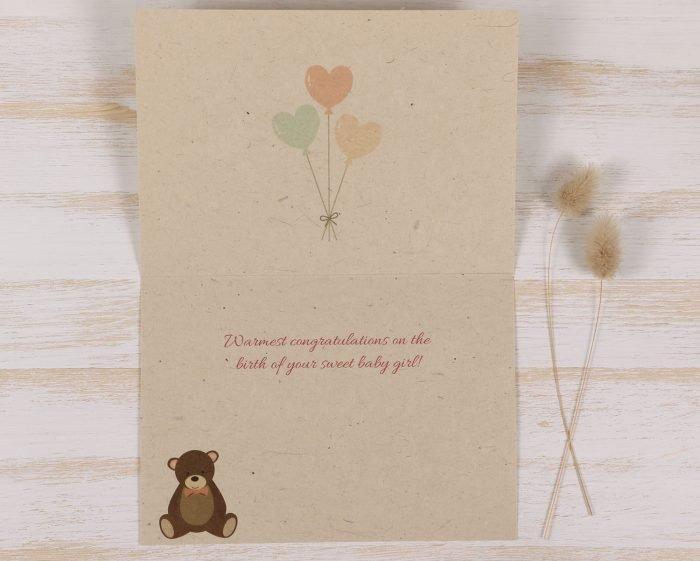 Plantable New Baby Girl Card - Inside