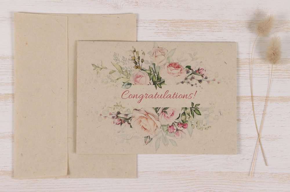 Plantable Seeded Wedding Card - Pastel Rose - Front