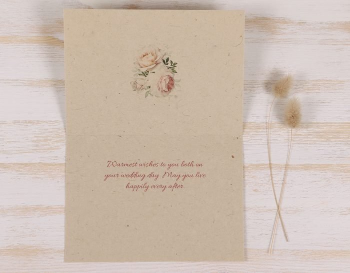Plantable Seeded Wedding Card - Pastel Rose - Inside