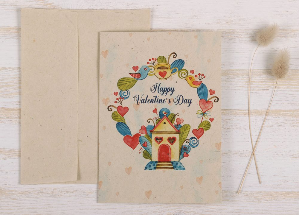 Plantable Valentine's Day Card Birdhouse - Front