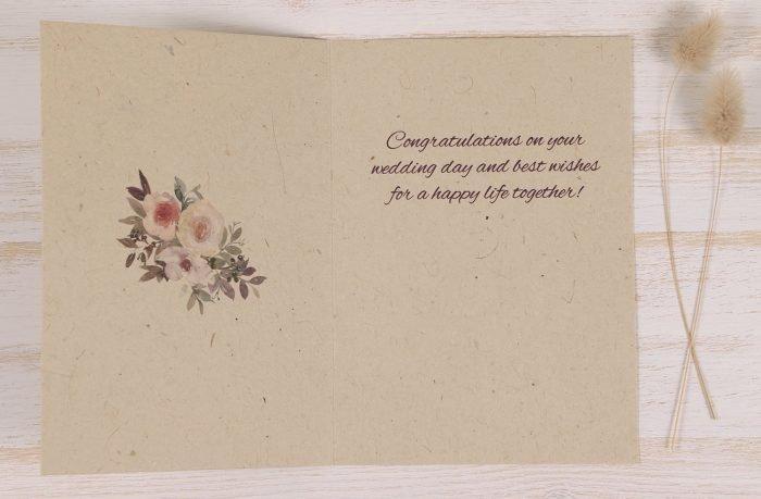 Plantable Wedding Congratulations Card - Spring Roses - Inside