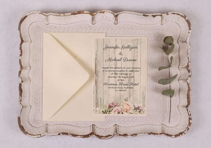 Rustic Rose Evening Invitation