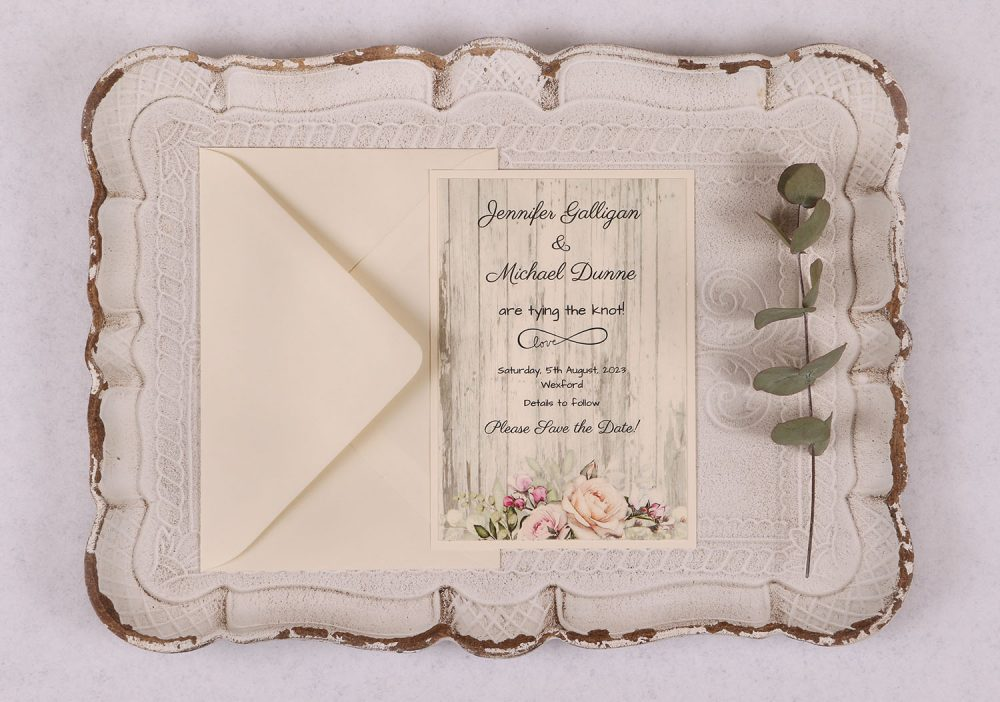 Rustic Rose Save the Date Card
