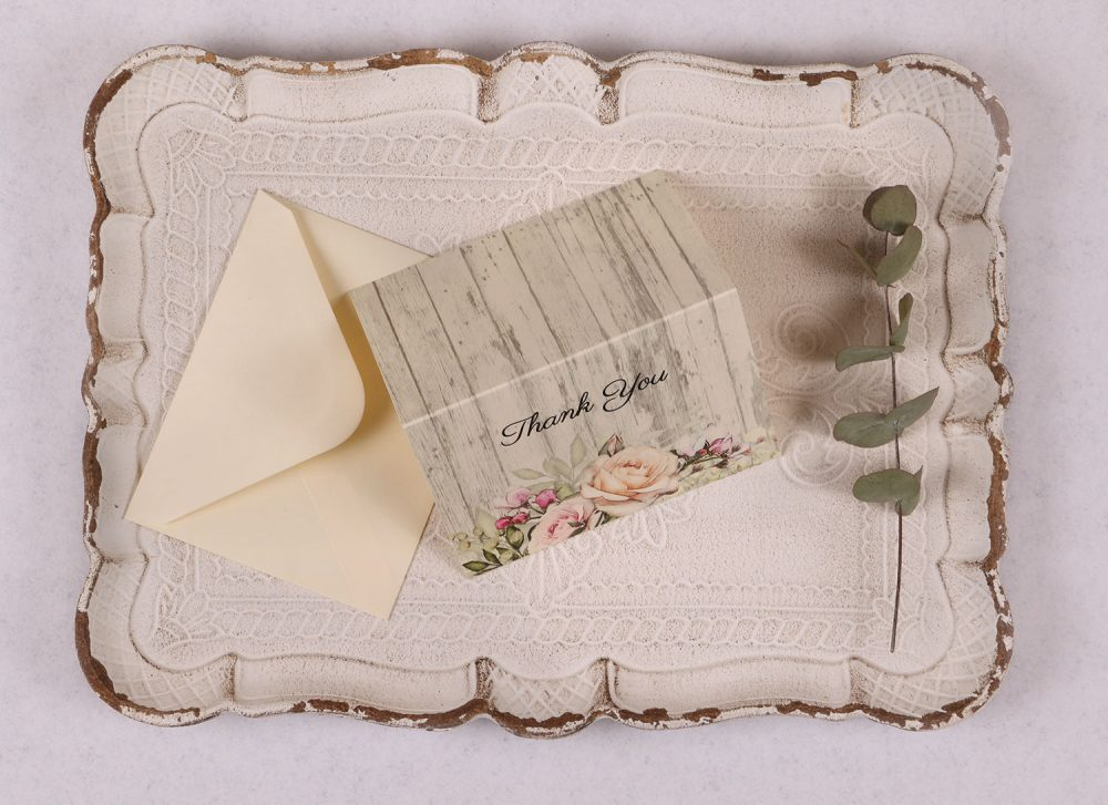 Rustic Rose Thank You Card