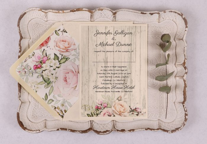 Rustic Rose Wedding Invitation with Lined Envelope