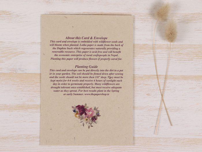 Seeded Plantable Wedding Card - Floral Wreath - Back