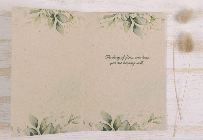 Thinking of You Card Eucalyptus - Inside