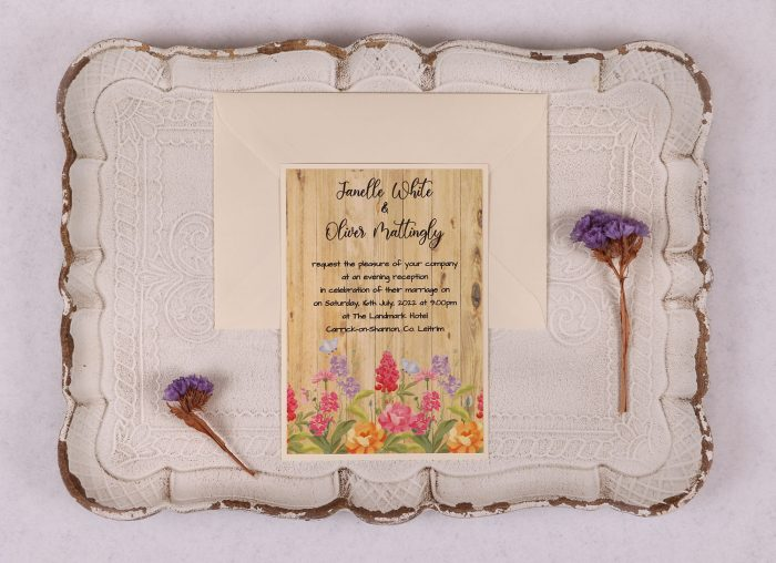 Floral Oak Evening Invitation