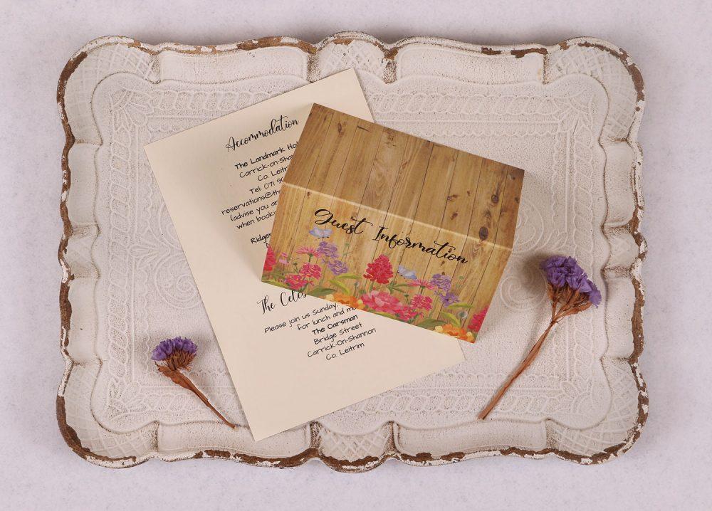 Floral Oak Guest Information CardFloral Oak Guest Information Card