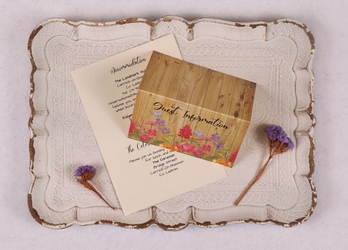 Floral Oak Guest Information CardFloral Oak Guest Information Card