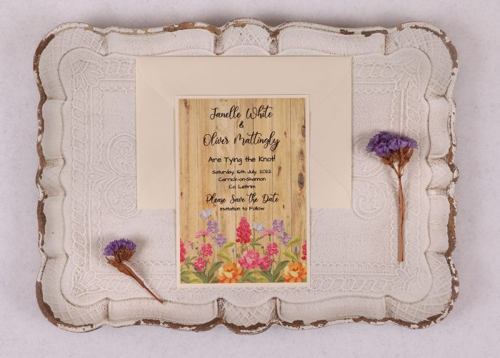 Floral Oak Save the Date Card