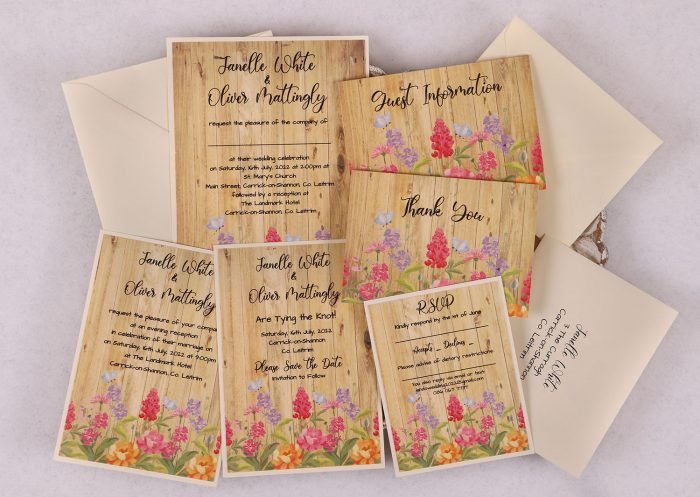 Floral Oak Wedding Invitation Suite