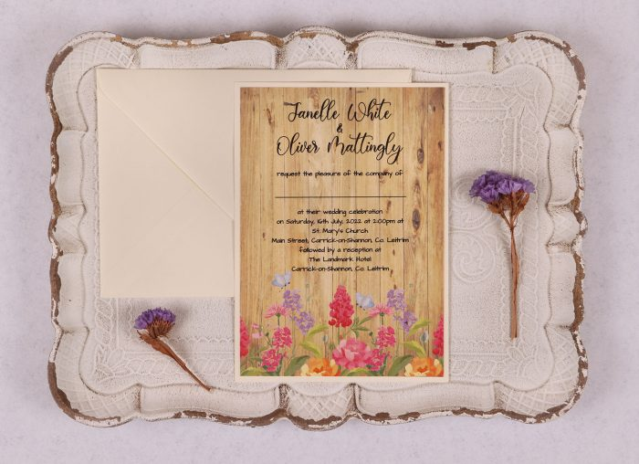 Floral Oak Wedding Invitation