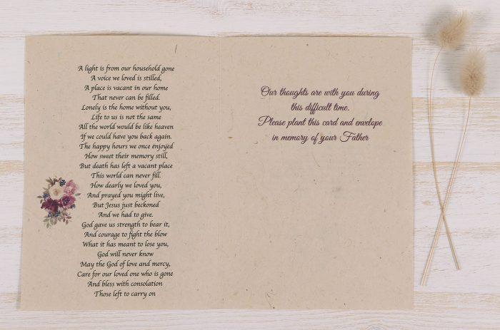 Plantable Condolence Card - Father Floral Wreath - Inside