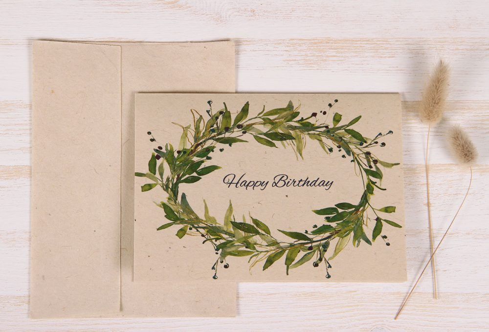 Birthday Card - Berry Wreath - Front