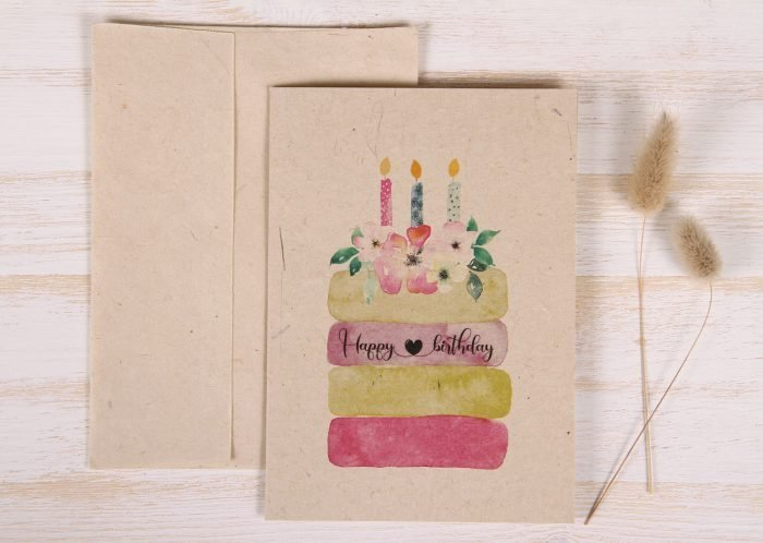 Birthday Card - Floral Cake - Front