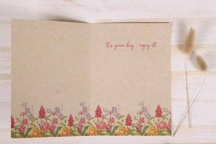 Birthday Card - Floral Cake - Inside