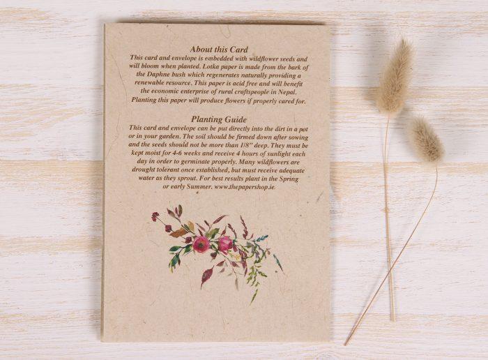 Birthday Card - Floral & Twigs - Back