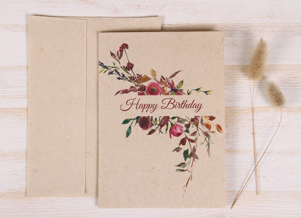 Birthday Card - Floral & Twigs - Front