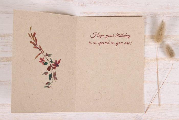 Birthday Card - Floral & Twigs - Inside