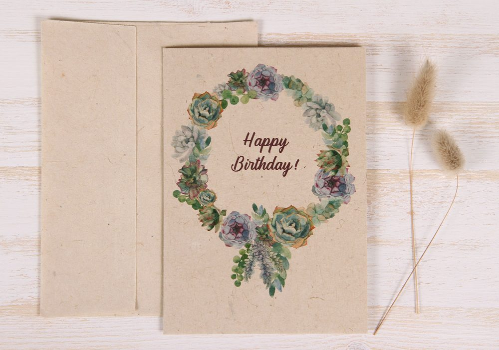 Birthday Card - Succulent - Front