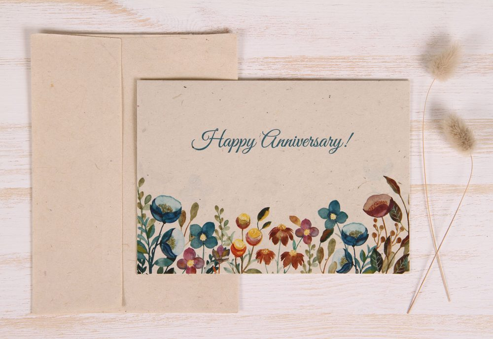 Plantable Anniversary Card - Meadow - Front
