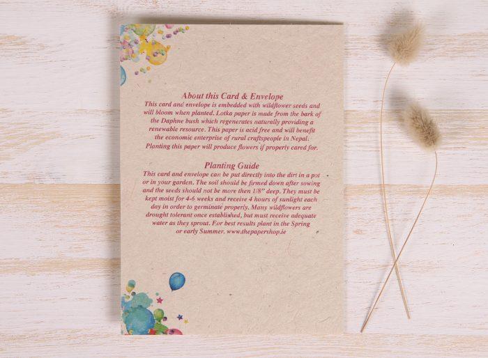Plantable Birthday Card - Balloon Tree - Back