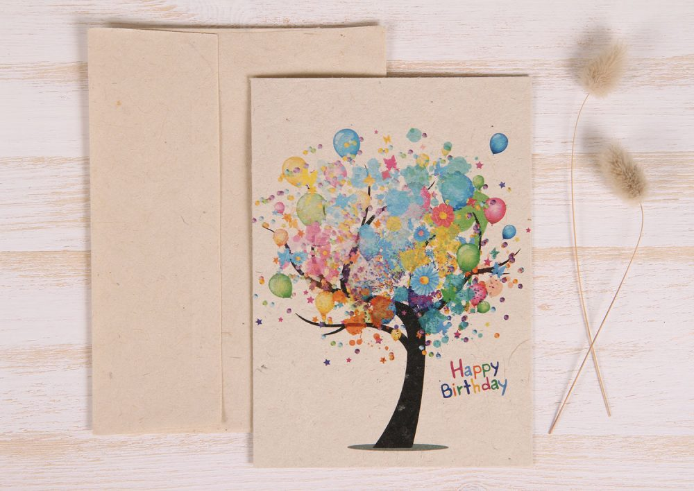 Plantable Birthday Card - Balloon Tree - Front