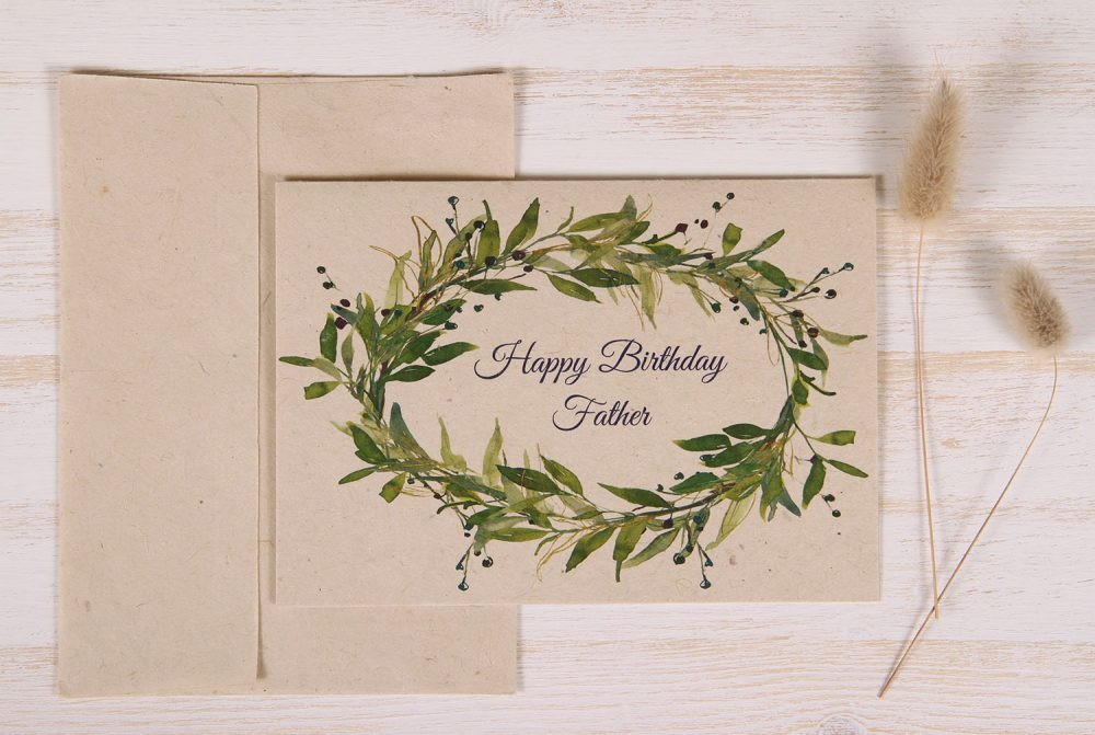 Plantable Birthday Card for Father - Berry Wreath - Front