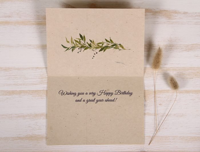 Plantable Birthday Card for Father - Berry Wreath - Inside